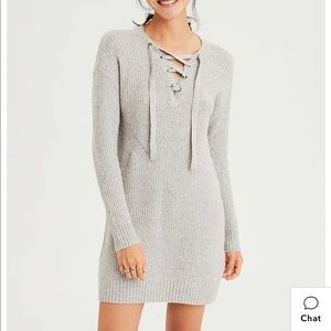 AE Lace-Up Sweater Dress Grey Small